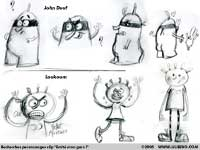 Model sheet - esquisses personnages du clip